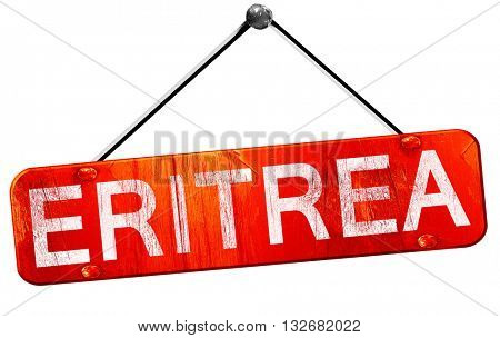 Eritrea, 3D rendering, a red hanging sign