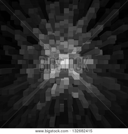 Background from extruded squares, Black and white geometric background with squares, Background with 3d cubes and squares
