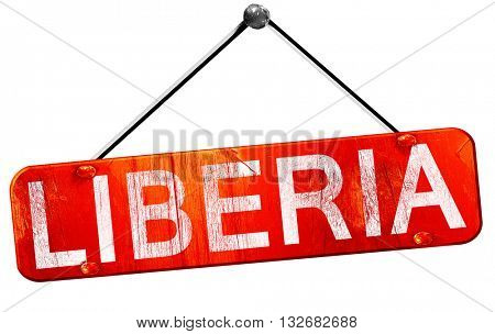 Liberia, 3D rendering, a red hanging sign