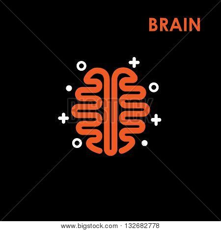 Brain Logo silhouette top view design vector template. Brainstorm think idea Logotype concept icon.The best idea logo.Good idea logo.Brain logo.Think idea logo.Vector logo design template