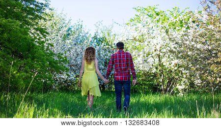 Back View Of Happy Couple Walking In Summer Garden