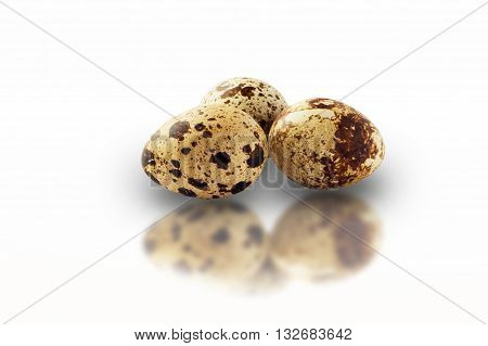 quail eggs isolated on white background with reflection