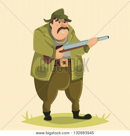 Hunter. Funny cartoon character. Vector illustration in retro style