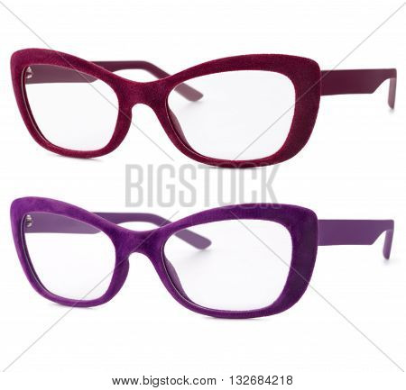 red and velvet spectacles isolated on white background