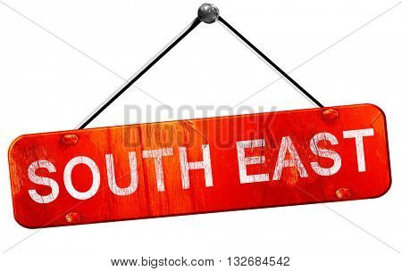 South east, 3D rendering, a red hanging sign