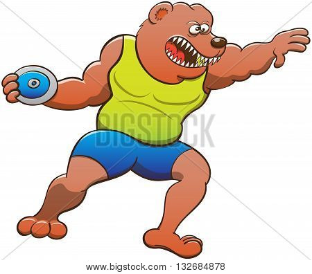 Strong and brave bear wearing a yellow tank and blue shorts, clenching its teeth, spinning its body and grabbing the heavy disc while preparing a discus throw
