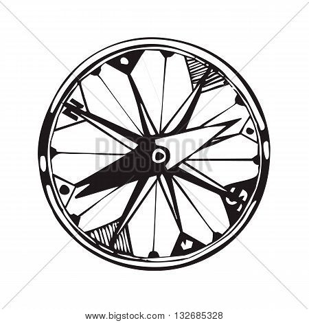 Vector handdrawn illustration. Black compass on white background. Travel symbol.