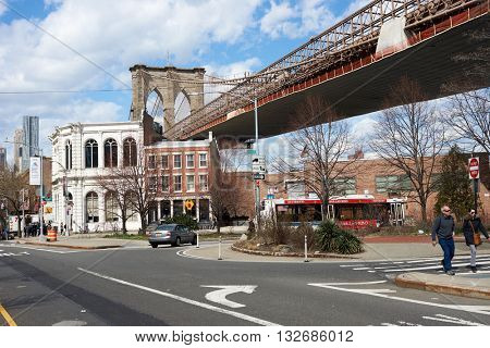 NEW YORK, USA - CIRCA MARCH, 2016: Brooklyn at daytime. Brooklyn is the most populous of New York City's five boroughs.
