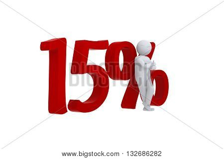 3D Human leans against a red 15%