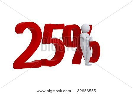 3D human leanst against a red 25%