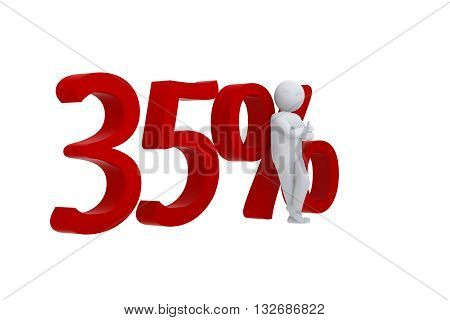3D human leans against a red 35%