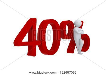 3D human leans against  a red 40%