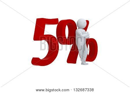 3D human leans against a red 5%