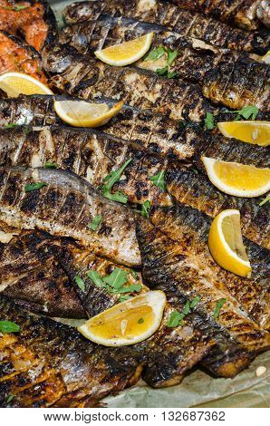 Grilled sea fish (mackerel) with lemons and greenery