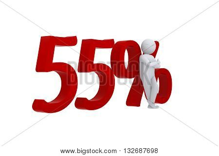 3D human leans against a red 55%