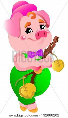 Small cute pink little cartoon vector laughing pig illustrations