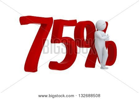 3D human leans against a red 75%