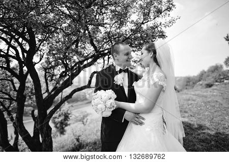 Graceful Wedding Couple Stay Near Tree Background Landscape With River. B&w Photo