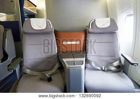 NEW YORK - MARCH 13, 2016: interior of Boeing 747-8I. The Boeing 747 is an American wide-body commercial jet airliner and cargo aircraft.