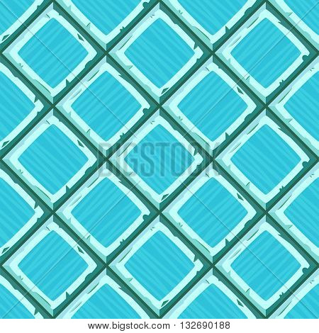 Cartoon Hand Drown Cyan Old Diagonal Seamless Tiles Texture. Vector Illustration