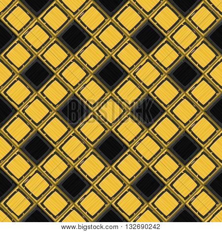 Cartoon Hand Drown Golden And Black Old Diagonal Seamless Tiles Texture. Vector Illustration