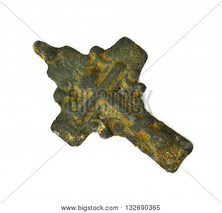 old vintage pectoral cross isolated on white background