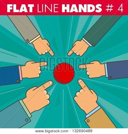 Vector hand style flat line design. Hand of a businessman finger presses the red button, pointing the finger: start, run, stop, click. For web, print.
