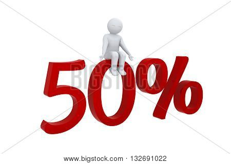 3d human sits on a red 50%