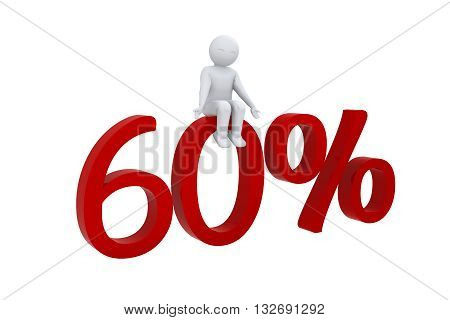 3d human sits on a red 60%