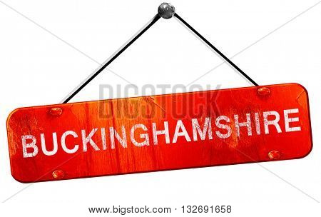 Buckinghamshire, 3D rendering, a red hanging sign