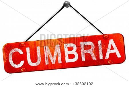 Cumbria, 3D rendering, a red hanging sign