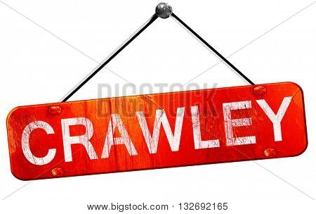 Crawley, 3D rendering, a red hanging sign