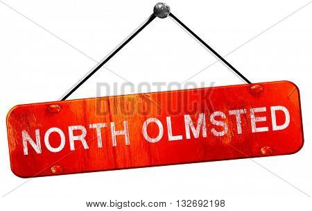 north olmsted, 3D rendering, a red hanging sign