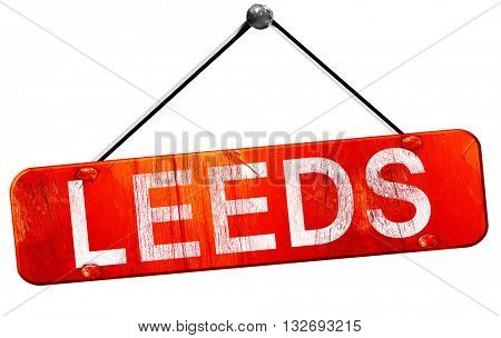 Leeds, 3D rendering, a red hanging sign