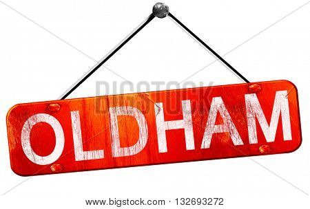 Oldham, 3D rendering, a red hanging sign