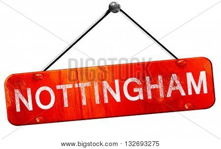 Nottingham, 3D rendering, a red hanging sign