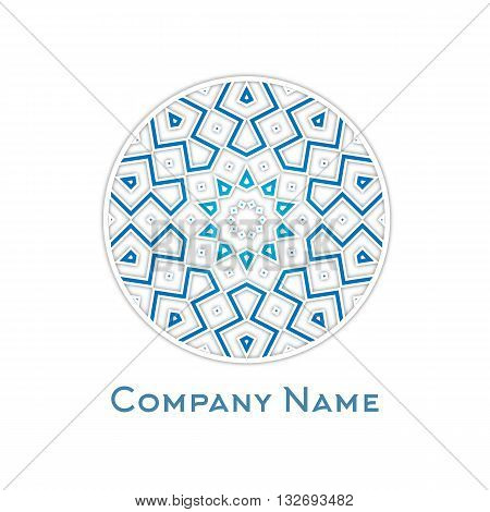 Vector abstract ornamental round icon, logo isolated in blue colors. Geometric logo.