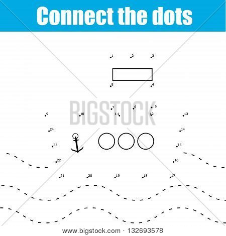 Connect the dots children educational drawing game . Dot to dot by numbers game for kids. Transport theme for pre school age