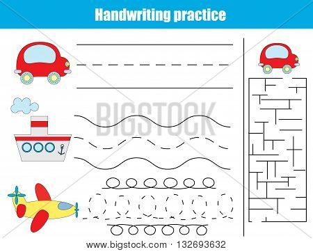 Handwriting practice sheet. Educational children game. Writitng training transportation theme. Connect the dots and solve the maze task. vector illustration printable worksheet