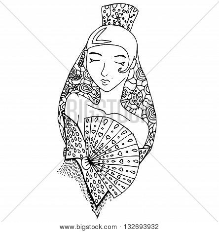 uncolored vector spanish girl in doodle style. Can be used as adult coloring book, card, invitation.