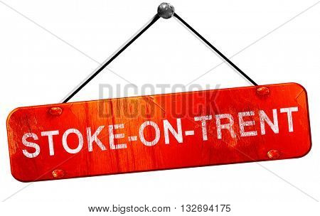 Stoke-on-trent, 3D rendering, a red hanging sign