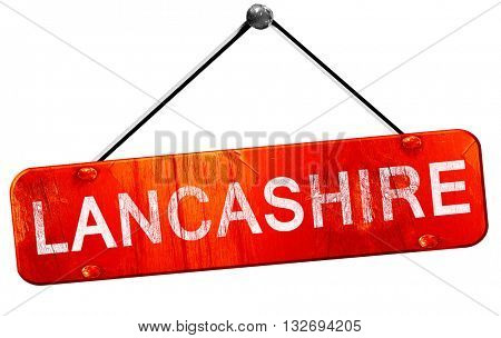 Lancashire, 3D rendering, a red hanging sign