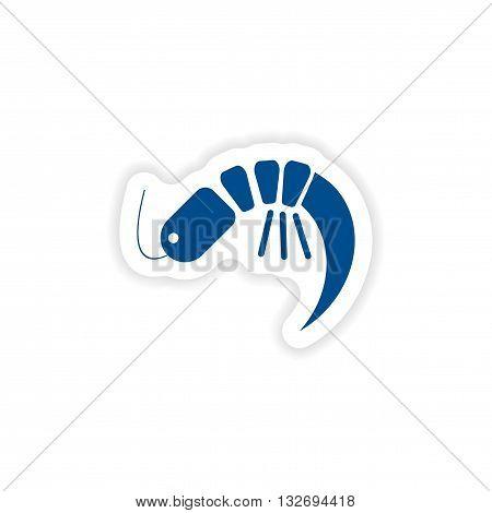 paper sticker on white background   ocean shrimp