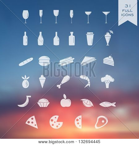 Set of 31 transparent icons on blutted background. For restaurant or cafe. Web design