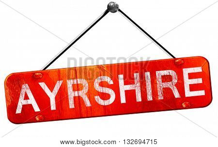 Ayrshire, 3D rendering, a red hanging sign