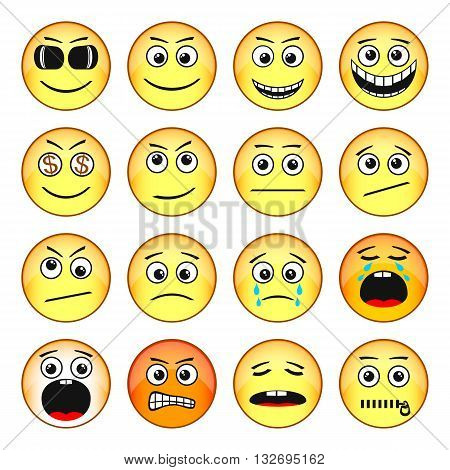 Set of Emoticons. Funny Faces Show Different Emotions. EPS-10. Transparency was used.