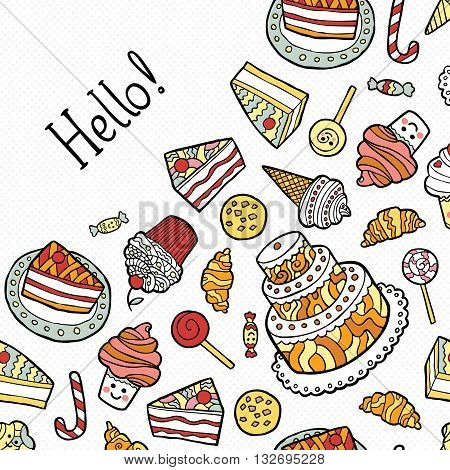 Greeting Card with doodle sweets on dotted background. Vector illustration.