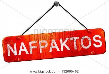 Nafpaktos, 3D rendering, a red hanging sign