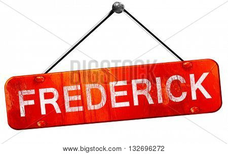 frederick, 3D rendering, a red hanging sign