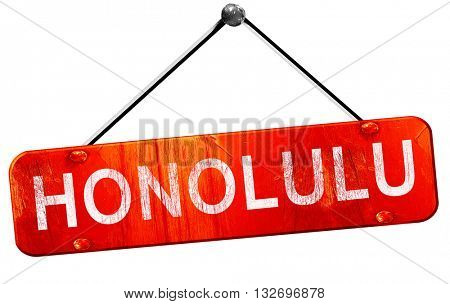 honolulu, 3D rendering, a red hanging sign